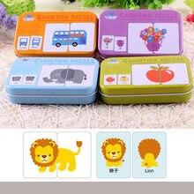 O bebê caçoa Cartões Cognitivos Materiais Montessori Quebra-cabeças de Animais Fruto Chinês Inglês Livros de Aprendizagem Educação Brinquedos Para as crianças