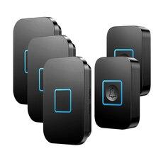 Timbre inalámbrico A88, luz LED a prueba de agua, 300M, mando a distancia, 1 2 botones, 1 2 3, receptor, timbre inteligente de llamada para el hogar, campanas negras