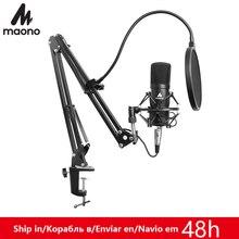 MAONO Kit de micrófono profesional de 3,5mm, micrófono condensador para Audio de ordenador, estudio de grabación Vocal, micrófono de Karaoke