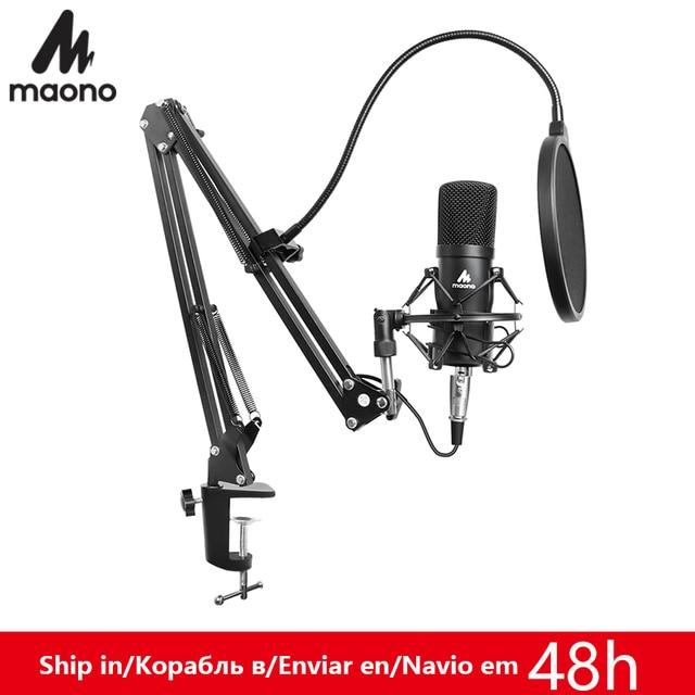 MAONO Professional 3.5mm Microphone Kit Condenser Microphone for Computer Audio Studio Vocal Rrecording Karaoke Mic