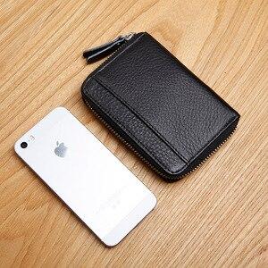 Image 2 - LANSPACE brieftasche karte halter echtes leder kreditkarte halter berühmte marke geldbörsen halter