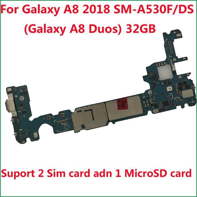 Desbloqueado placa lógica principal placa de 32gb para samsung galaxy a8 2018 a530f SM A530F/ds (galaxy a8 duos a530fd)