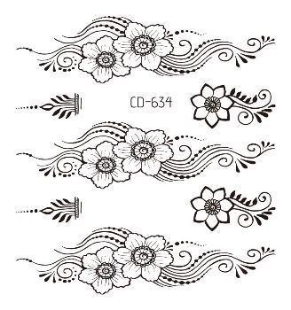 Waterproof tattoo sticker mandala totem flower black fake tatoo hand finger water transfer flash body small art temporary tatto 4