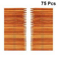 Conjunto de agujas de tejer de bambú, 75 Uds., 20cm, doble gama, agujas de carbonización, suéter largo hecho a mano, Kit de aguja recta para Ho