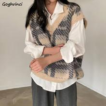 Pull à carreaux pour femmes, col en v, ample, Style rétro coréen, doux, mode, loisirs, passe-partout, quotidien, élégant, classique, haute qualité
