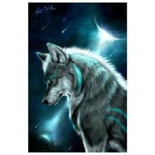 DIY 5D Алмазный вышитый Ночной Волк картина Стразы Вышивка крестом домашний декор
