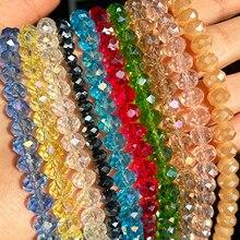 3 4 6 8mm facettes tchèque cristal verre Rondelle perles rondes Jades perles en vrac pour la fabrication de bijoux Bracelet à bricoler soi-même accessoires 15''
