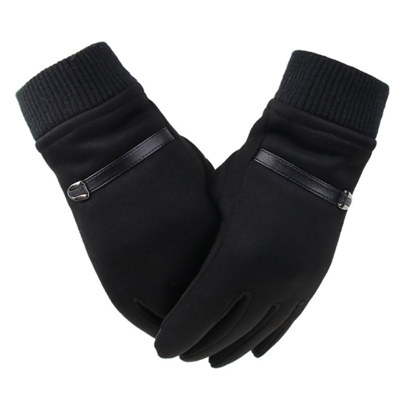 Winter Outdoor Riding Cold Gloves Suede Men's Gloves And Windproof Warm