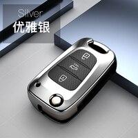 Capa de chave de fibra de carbono tpu com 3 botões, acessório concha dobrável remoto para kia ceed picanto sportage rio hyundai i20 i30 ix35
