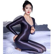 Body Sexy pour femmes, décolleté en v profond, ajouré, fermeture éclair, entrejambe ouvert, pantalon lisse, brillant, serré, couleur bonbon, F50