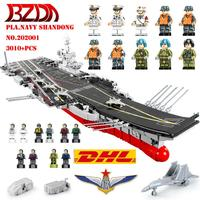 BZDA Shandong Aircrafted Carrier Aviation Military Battleship Building Blocks Model Kit Blocks Collectible Toys For Gift 202001