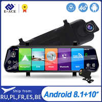 E-ACE D13 Car Dvr 10 Inch Rearview Mirror Full HD 1920x1080 Car Camera 4G Android GPS Dash Cam Dual Lens ADAS Video Recorder