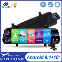 E ACE D13 Car Dvr 10 Inch Rearview Mirror Full HD 1920x1080 Car Camera 4G Android GPS Dash Cam Dual Lens ADAS Video Recorder