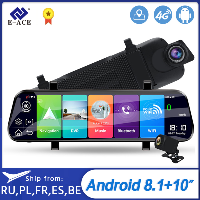 E-ACE D13 <font><b>Car</b></font> <font><b>Dvr</b></font> 10 Inch Rearview <font><b>Mirror</b></font> Full HD 1920x1080 <font><b>Car</b></font> Camera 4G Android <font><b>GPS</b></font> Dash Cam Dual Lens ADAS Video <font><b>Recorder</b></font> image