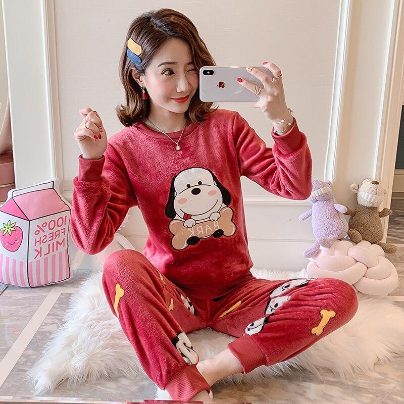 New Women Gift Adult Flannel Pajamas Sets Winter CartoonThick Warm Flannel Women Pyjama Sets Cute Sleepwear for Ladies Nightwear 79