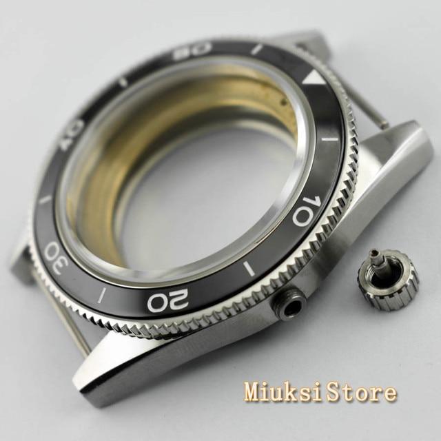 Corgeut 41mm top watch case sapphire glass ceramic bezel  fit Miyota 8205/8215 82 Series ETA 2836 DG2813