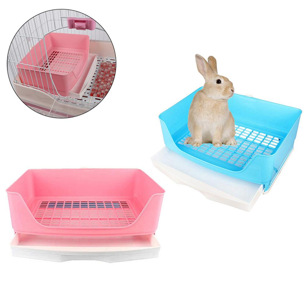 Portable Drawer Design Pet Rabbit Toilet Litter Tray Pad Holder Safe Training Mesh Box Case Easy To Clean