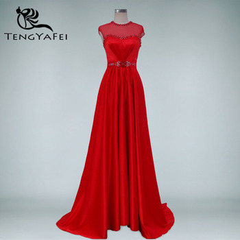 elegant robe de soire cap sleeve red long 2018 new arrival formal Women evening Gown vestido pearls mother of the bride dresses