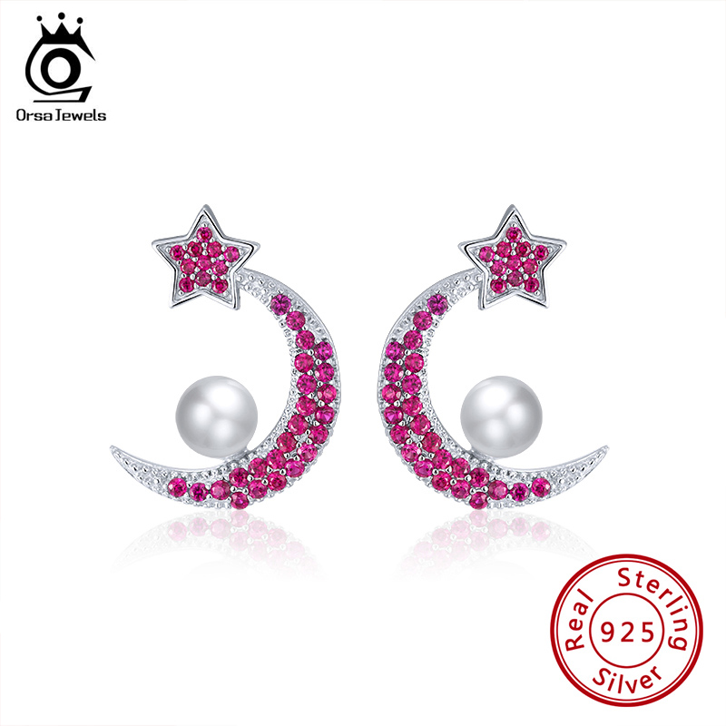 WandT S925 red Crystal Earrings Young Lady Girl Birthday