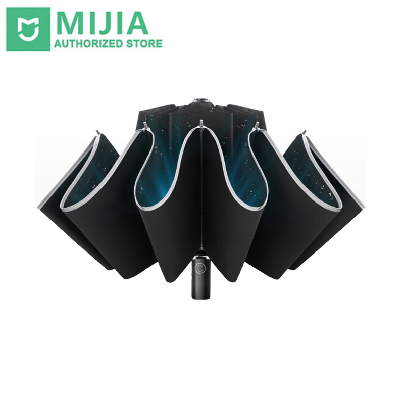 Xiaomi Zuodu Reverse Folding Umbrella Reflective LED Light Automatic Umbrella Portable Windproof Sunshade With Leather Cover