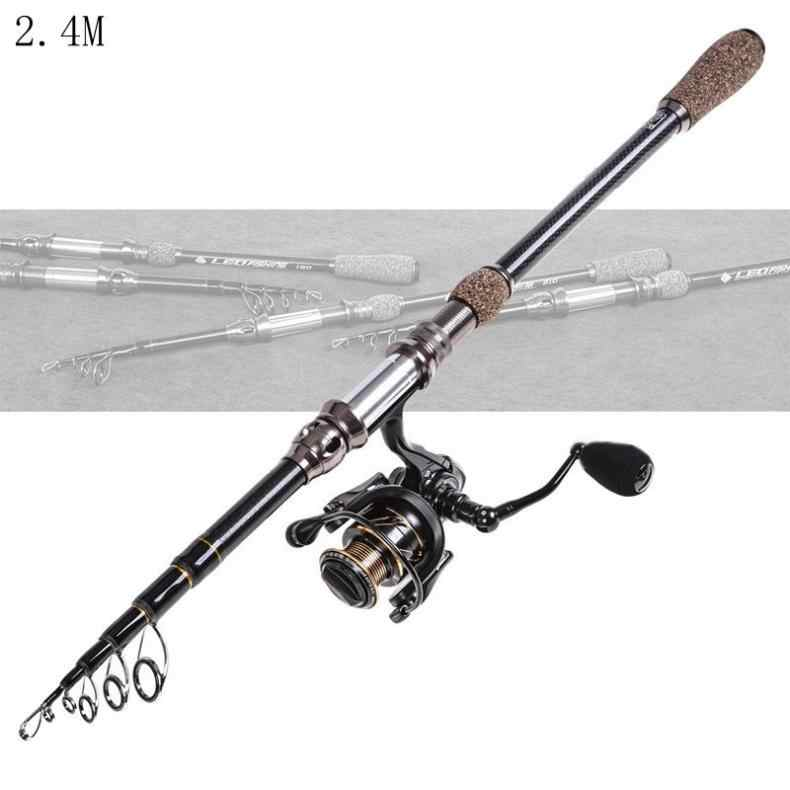 1.8m Carbon Fiber Lure Fishing Rod Spinning Casting Rod 5Section Telescopic Gray