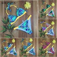 цена на New Sexy Digital Print Bikini Women Swimsuit Handmade Braided Bathing Suit S-XL Padded Halter Beachwear Backless Mini Bikini Set