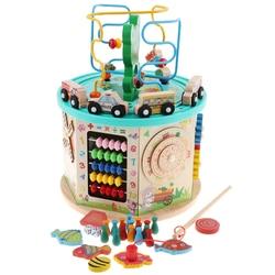 Actividad de madera laberinto de cuentas cúbicas, juego de engranajes, clasificador de formas, centro de actividad de juguete Ábaco para niños 1 año + Desarrollo Temprano