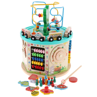 Wooden Activity Cube – Bead Maze, Gear Game, Shape Sorter, Abacus Toy Activity Center for Kids 1 year + Early Development