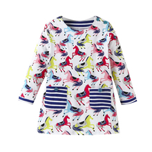 все цены на 2019 Spring Autumn Girl Dress Cotton Long Sleeve Children Dresses Pony Cute Pocket Kids Dresses for Girls Fashion Girls Clothing онлайн