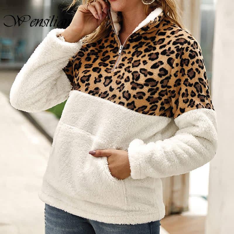 Leopard Patchwork Sweatshirt Women Tops Winter Fleece Pullovers 5XL Fluffy Outerwear Warm Zipper Sweatshirt Sudaderas Para Mujer