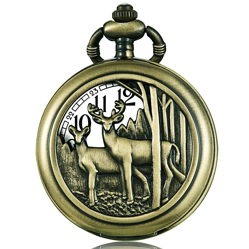 Retro Hollow Men Pocket Watch Laser Engraved Flip Bronze Watch Fob Chain Necklace Quartz Clock Christmas Gift Reloj De Bolsillo