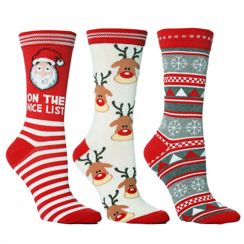 Outdoor Cycling Socks Women Men Road Bicycle Socks Autumn Winter New Year Santa Claus Snow Elk Sport Socks Gift Happy Socks