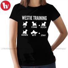 Koszulka West Highland White Terrier koszulka treningowa Westie koszulka bawełniana O Neck koszulka damska koszulka damska tanie tanio WishShape CN (pochodzenie) Lato COTTON tops Tees Krótki REGULAR Suknem Cartoon WSW-Movie and Music WOMEN NONE Na co dzień