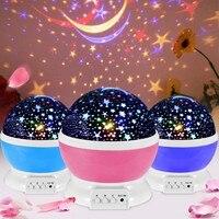 Novedad luminosa juguetes romántico cielo estrellado de proyector de luz de noche LED de luz de noche USB creativo cumpleaños juguetes para los niños