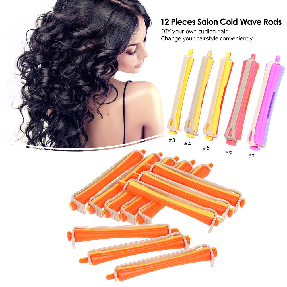 12 Pieces Salon Cold Wave Rods Hair Roller With Rubber Band Curling Curler Perms Hairdressing Styling Tool For Women Hair