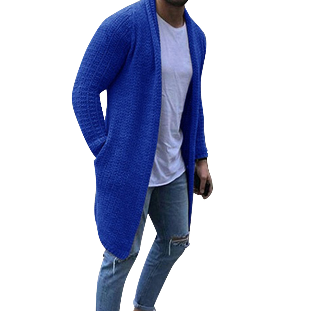 Men Fashion Solid Color Long Sleeve Knitted Cardigan Male Winter And Autumn Loose Casual Swaeter Coat With Pocket 2019 New