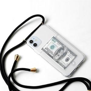Image 4 - Слот для кредитной карты, прозрачный, прозрачный чехол для телефона 11 Pro XS MAX X XR 8 7 6 6S Plus цепочка из ТПУ мягкий ремешок