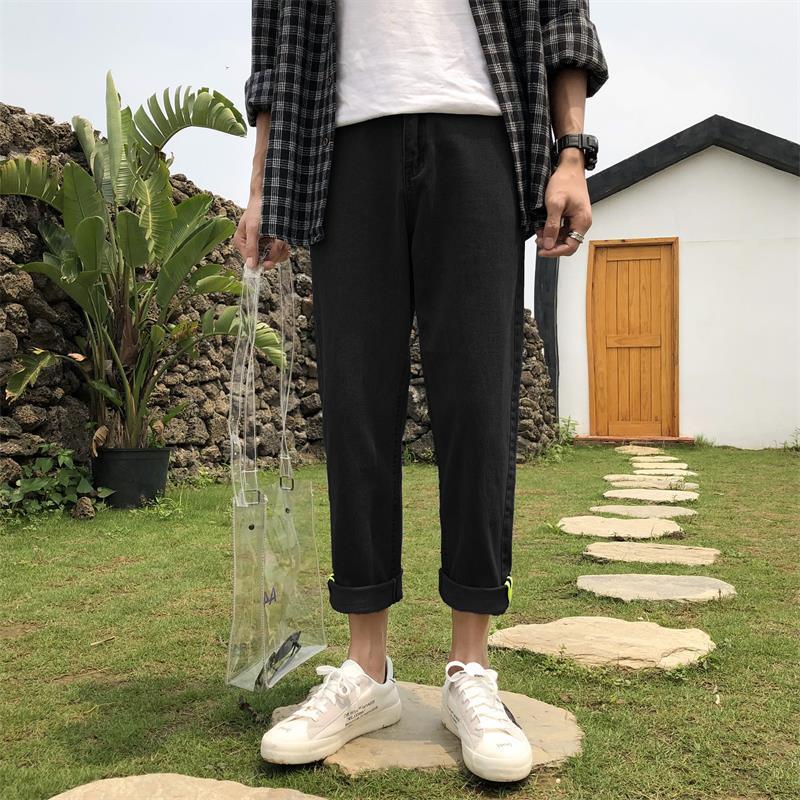 Wholesale 2020 Spring Autumn Boys Biker Denim Jeans Loose Straight Wide Leg Port Wind Teenagers Casual Pants Male Jeans Homme