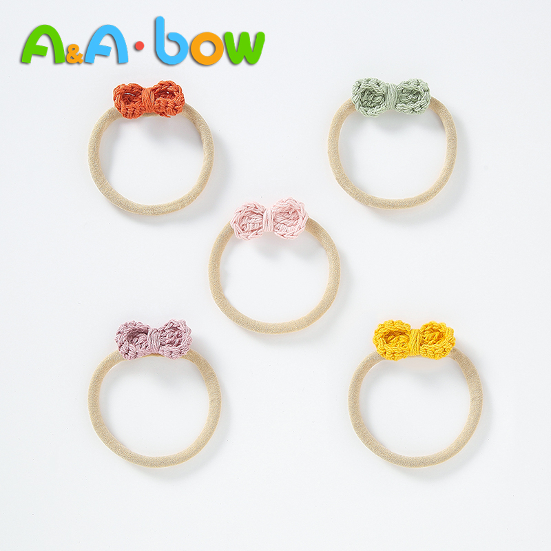1 PCS Flower Nylon Baby Girl Headband Vintage Knitted Bows Hair Elastic Hairband For Baby Girls Headwear Hair Accessories Cute