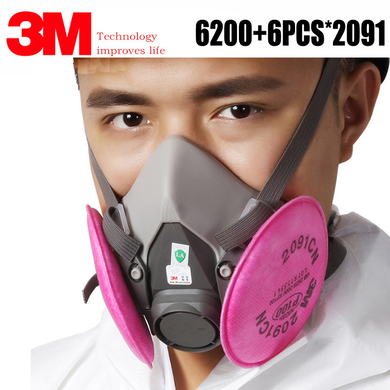7in1 3M 6200 Dust Mask Spray Paint With 2091 P100 Anti-particle Filter Industrial Dustproof PM2.5 Acid Particle Protective Mask