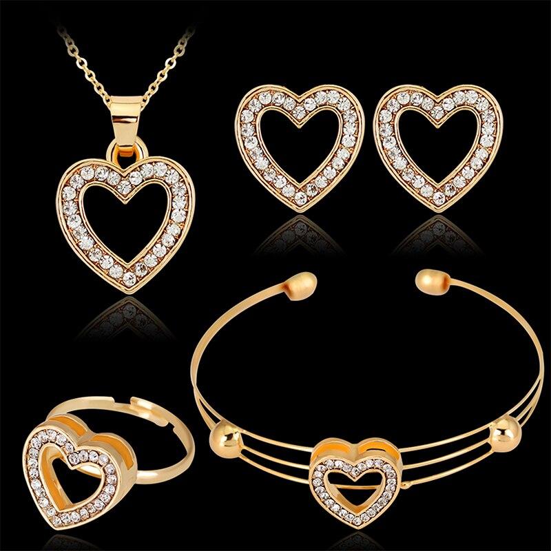 4pcs/lot Heart Shaped Bracelet Neclace Earrings Sets Jewelry Crystal Lovely Gold Color Jewelry Sets For Women Girl-1