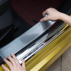 Image 2 - Carbon Fiber Rubber Moulding Strip Soft Black Trim Bumper Strips DIY Door Sill Protector Edge Guard Car Styling Car Stickers 1M