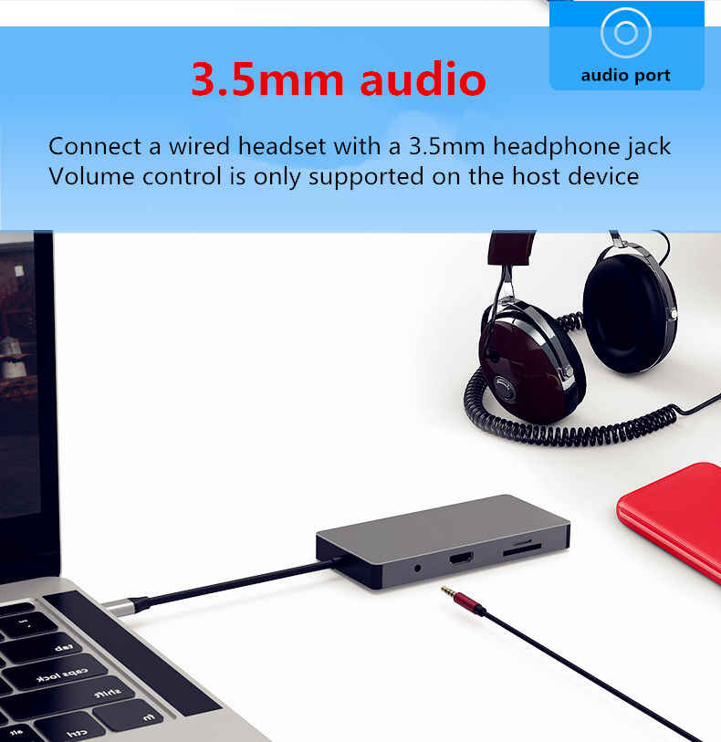 Port d'extension USB HUB-c USB3.0 SD TF HDMI VGA 3.5mm interface audio Ethernet pour huawei xiaomi Macbook mate 10 P20 pro