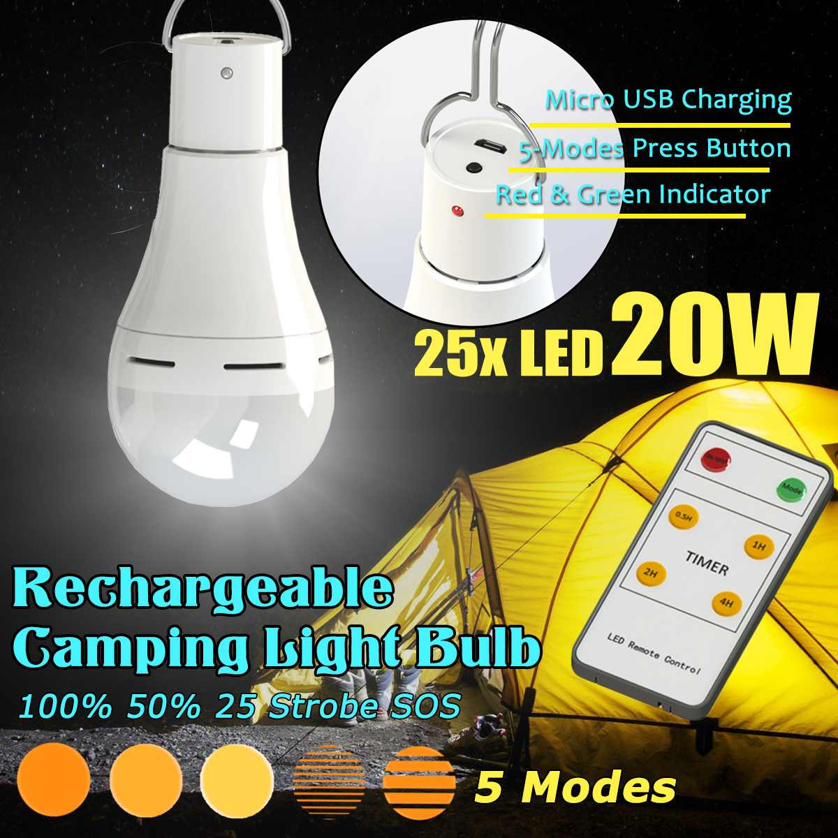 2pcs DC5V 20W Dimmable USB Charging Rechargeable Emergency Outdoor Tent Camping LED Light Bulb With 6Keys Remote Control