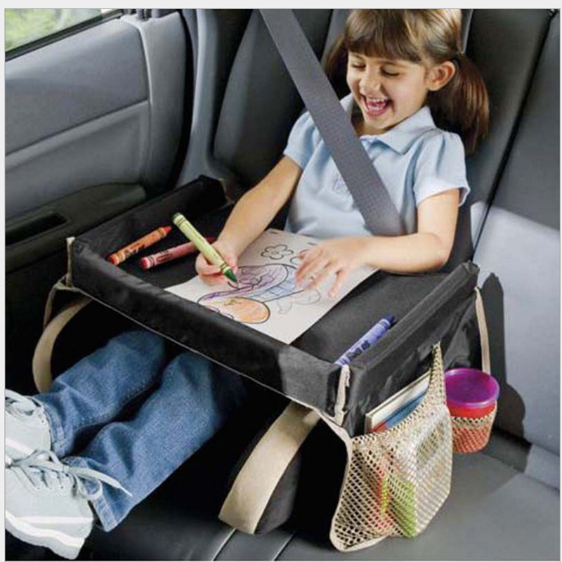 Купить с кэшбэком Waterproof table Car Seat Tray Storage Kids Toys Infant Stroller Holder for Children dining and drink  In-car Travel Trays