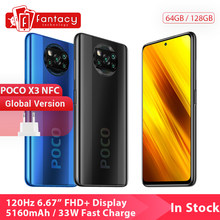 Küresel sürüm POCO X3 NFC 6GB 128GB cep telefonu Snapdragon 732G 64MP Quad kamera Smartphone 6.67