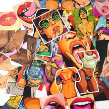 Mixed 25 PCS Sexy Mouth And Beautiful Girls Stickers For Laptop Skateboard Toys Car Styling Motorcycle