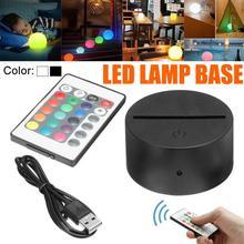 Сенсорный выключатель, современный черный USB кабель, пульт дистанционного управления, Ночной светильник, акриловый 3D светодиодный ночник, собранная база