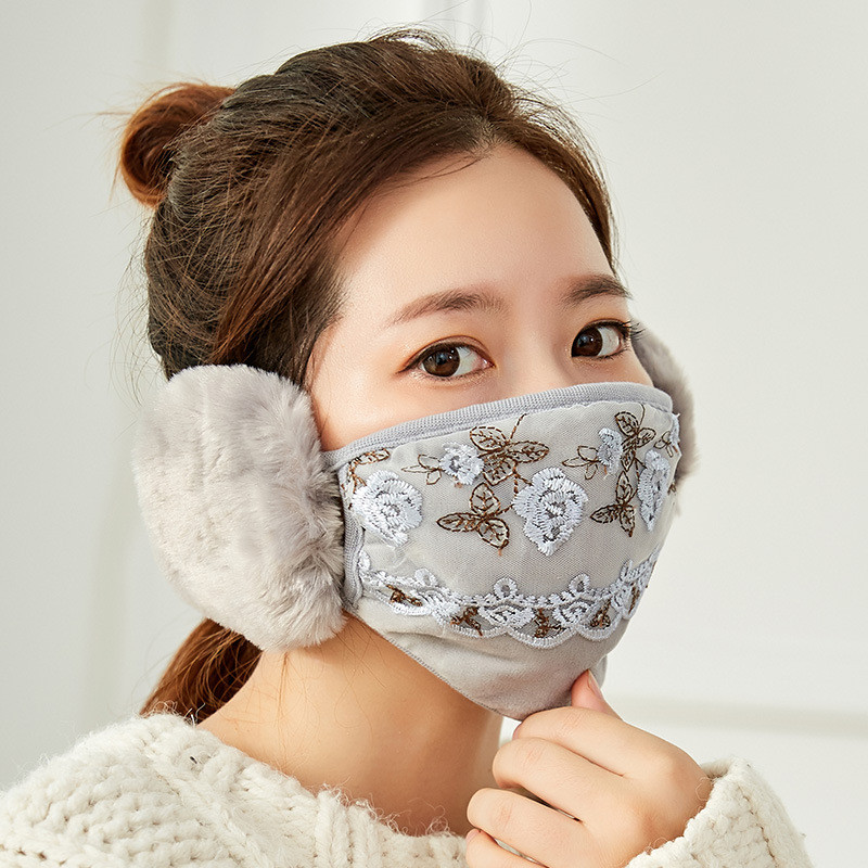 Winter New Floral Lace Embroidery Sweet Women's Earmuffs Bunny Girls Mask Windproof Anti-Dust Cold Protection Warm Cotton Masks