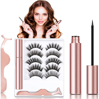 5 Pairs False Magnetic Eyelashes Kit Faux Mink Eyelashes with Eyeliner Reusable Volume Eyelashes Kit Natural Look Long Tweezer image